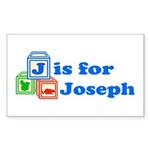 Baby Blocks Joseph Sticker (Rectangle 50 pk)