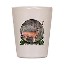 bow hunter, trophy buck Shot Glass
