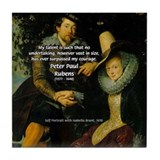 Rubens Self Portrait &amp; Quote Tile Coaster