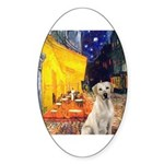 Cafe-Yellow Lab 7 Sticker (Oval 50 pk)