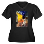 Cafe-Yellow Lab 7 Women's Plus Size V-Neck Dark T-