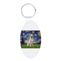 Starry - Yellow Lab 7 Aluminum Oval Keychain