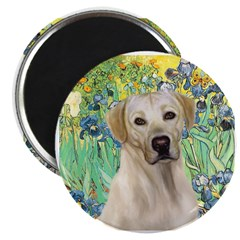 "Irises - Yellow Labrador 2.25"" Magnet (10 pack)"