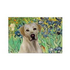 Irises - Yellow Labrador Rectangle Magnet