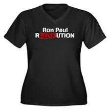 Ron Paul Revolution Women's Plus Size V-Neck Dark
