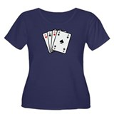 Poker cards Women's Plus Size Scoop Neck Dark T-Sh
