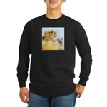 Sunflowers-Yellow Lab 7 Long Sleeve Dark T-Shirt