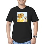 Sunflowers-Yellow Lab 7 Men's Fitted T-Shirt (dark
