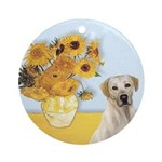 Sunflowers-Yellow Lab 7 Ornament (Round)