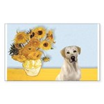 Sunflowers-Yellow Lab 7 Sticker (Rectangle)