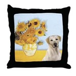 Sunflowers-Yellow Lab 7 Throw Pillow