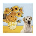 Sunflowers-Yellow Lab 7 Tile Coaster