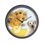 Sunflowers-Yellow Lab 7 Wall Clock