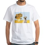 Sunflowers-Yellow Lab 7 White T-Shirt