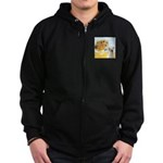 Sunflowers-Yellow Lab 7 Zip Hoodie (dark)