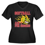 Girls Softball Women's Plus Size V-Neck Dark T-Shi