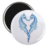 2 blue seahorses together Magnet