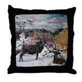 deer oil painting Throw Pillow