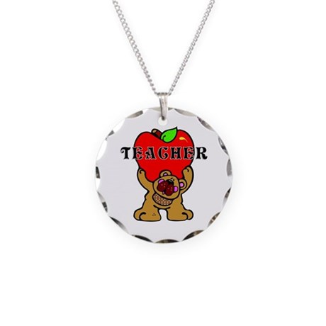 Teacher Apples Bear Necklace