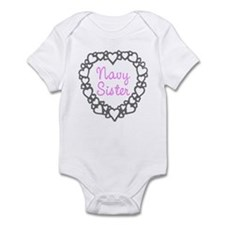 Navy Sister with Hearts Infant Creeper