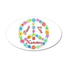 Peace Love Hamsters 22x14 Oval Wall Peel