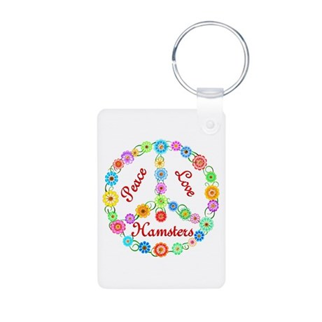 Peace Love Hamsters Aluminum Photo Keychain