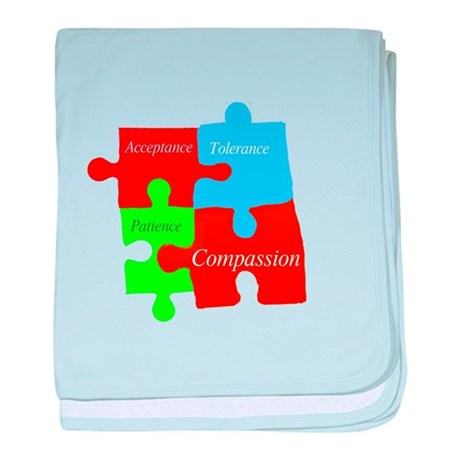 Autism puzzle pieces 1 baby blanket