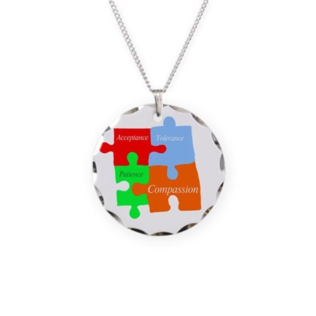 Autism puzzle pieces 1 Necklace Circle Charm