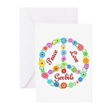 Peace Love Gerbils Greeting Cards (Pk of 20)