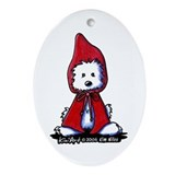 Red Riding Hood Westie Ornament (Oval)