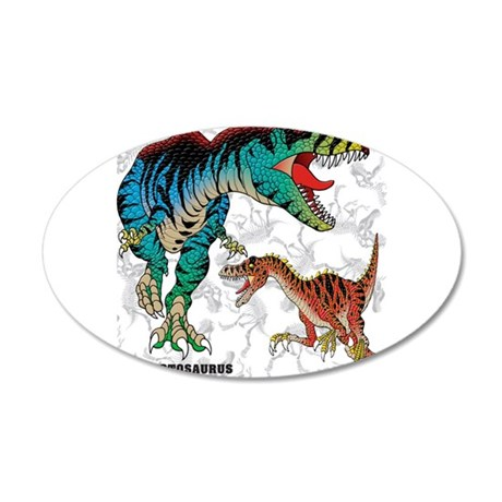 Rex and Velociraptor 22x14 Oval Wall Peel