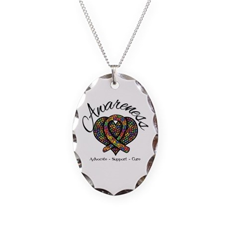Autism Mosaic Heart Necklace Oval Charm