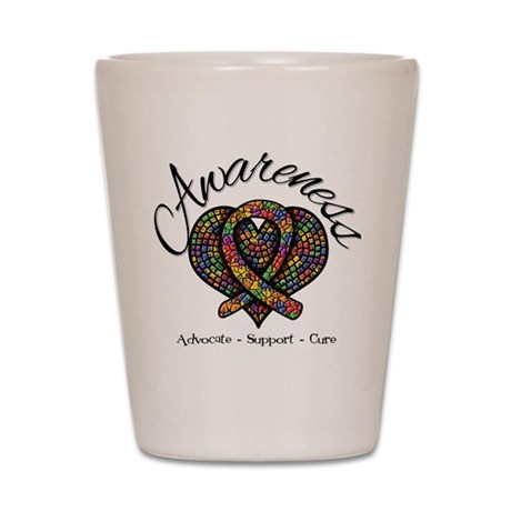 Autism Mosaic Heart Shot Glass