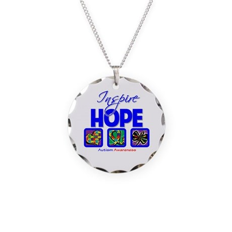 Autism Inspire Hope Necklace Circle Charm