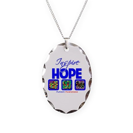 Autism Inspire Hope Necklace Oval Charm