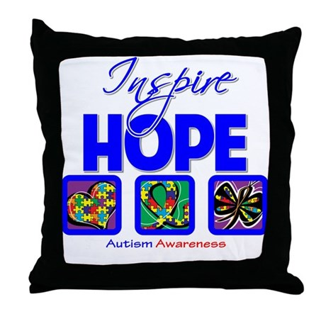 Autism Inspire Hope Throw Pillow