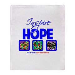 Autism Inspire Hope Throw Blanket
