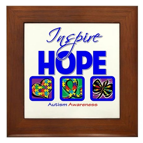 Autism Inspire Hope Framed Tile