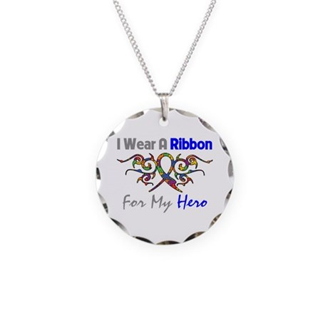 Autism Ribbon Hero Necklace Circle Charm
