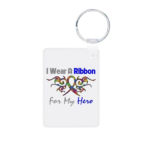 Autism Ribbon Hero Aluminum Photo Keychain