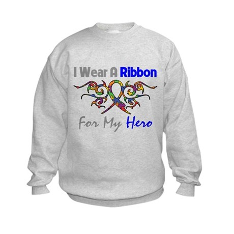 Autism Ribbon Hero Kids Sweatshirt