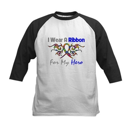 Autism Ribbon Hero Kids Baseball Jersey
