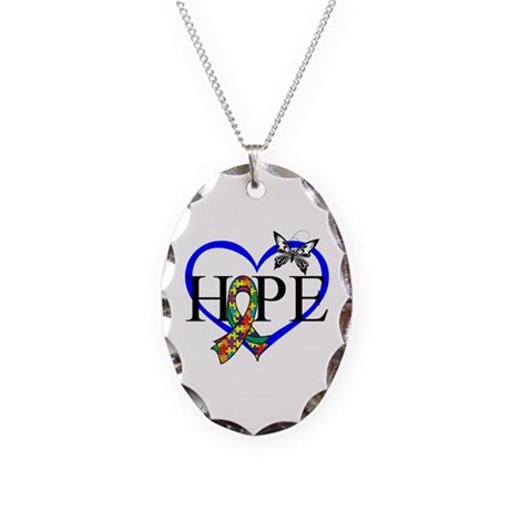 Autism Hope Heart Necklace Oval Charm