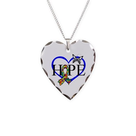 Autism Hope Heart Necklace Heart Charm