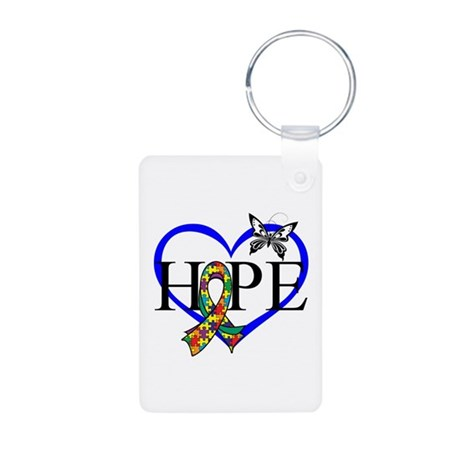 Autism Hope Heart Aluminum Photo Keychain