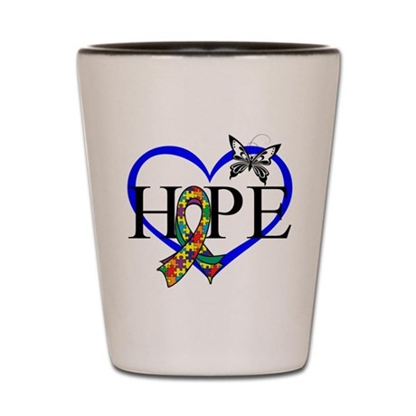 Autism Hope Heart Shot Glass