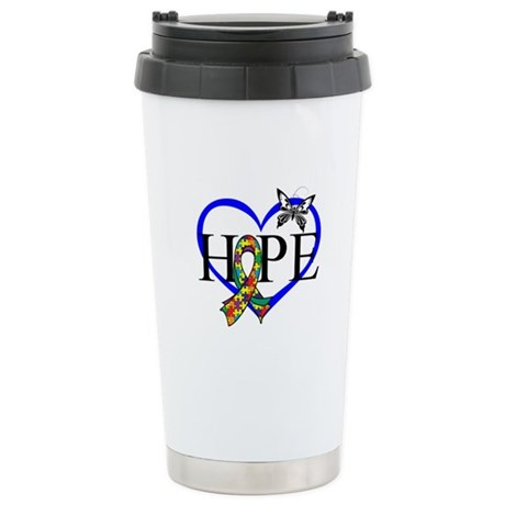 Autism Hope Heart Ceramic Travel Mug