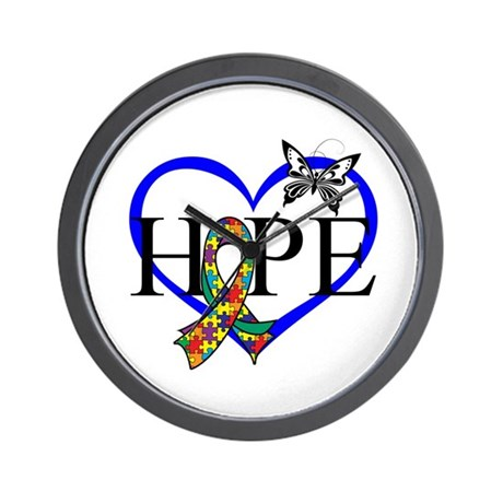 Autism Hope Heart Wall Clock