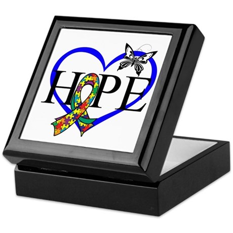 Autism Hope Heart Keepsake Box