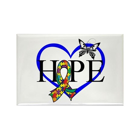 Autism Hope Heart Rectangle Magnet